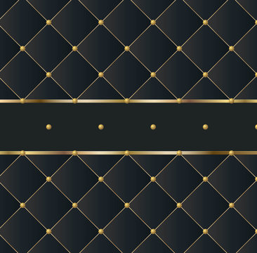 black square luxury pattern sofa texture with gold elements furniture background vector