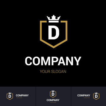Illustration of Shield Badge-Shape with letter D in the Middle and Luxury Crown. Logo Icon Template for Web and Business Card, Letter Logo Template on Black Background