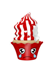 trauriger Kawaii Character als Cupcakes auf weiß isoliert. 3d render