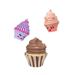 zwei lustige Kawaii Character als Cupcakes. 3d render