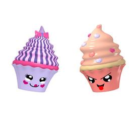 zwei niedliche Kawaii Character als Cupcakes auf weiß isoliert. 3d render
