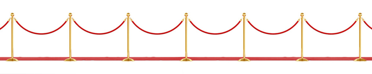 Barrier rope isolated on a white background. Luxury golden fence for events. Clipping path included