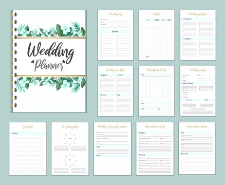 Wedding planer organizer with checklist, wish list, party time etc. Floral diary design for wedding organisation. Vector wedding planer.