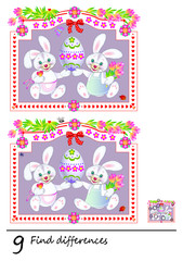 Logic puzzle game for children. Need to find 9 differences. Printable page for baby brainteaser book. Two cute rabbits are holding Easter egg. Developing skills for counting. Vector cartoon image.