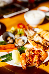 Grilled seafood and vegetables