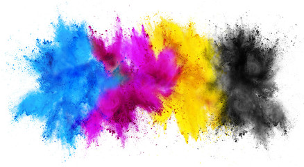 colorful CMYK cyan magenta yellow key holi paint color powder explosion print concept isolated white background Wall mural