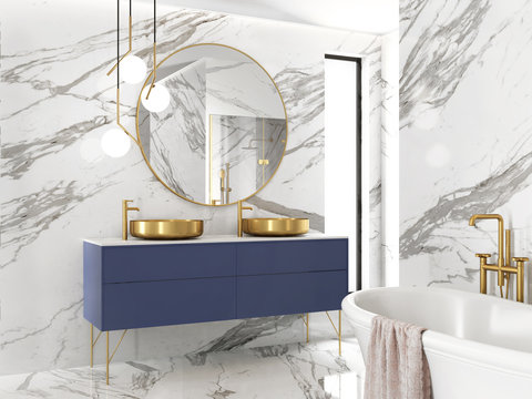 3d rendering of a modern minimal white marble bathroom with brass sinks and vintage details