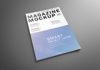 Magazine Cover on Gray Mockup