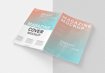 Open Magazine Cover Mockup Isolated