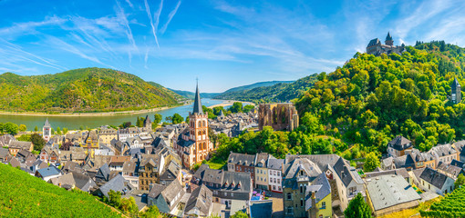 Aerial view of Bacharach from Postenturm, Germany Fototapete