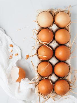 Easter eggs in cardboard tray