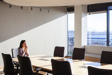 Female executive at conference table