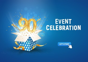 90 th years anniversary banner with open burst gift box. Template ninetieth birthday celebration and abstract text on blue background vector illustration