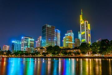 Foto op Aluminium Kuala Lumpur Skyscrapers reflected on the river Main in Frankfurt, Germany