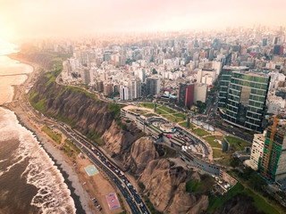 LIMA, PERU - December,12, 2018: Aerial of buildings of downtown Miraflores in Lima
