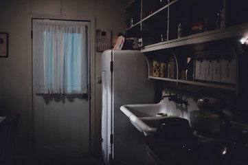 A vintage kitchen in moonlight
