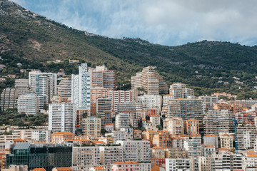 Panoramic view over a part of residential area in Monaco