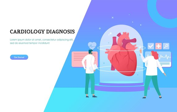 Heart health medical diagnosis, online healthcare, digital cardiology technology vector illustration concept, can use for, landing page, template, ui, web, background, poster, banner, flyer, home page