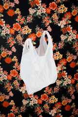plastic bag with floral pattern background