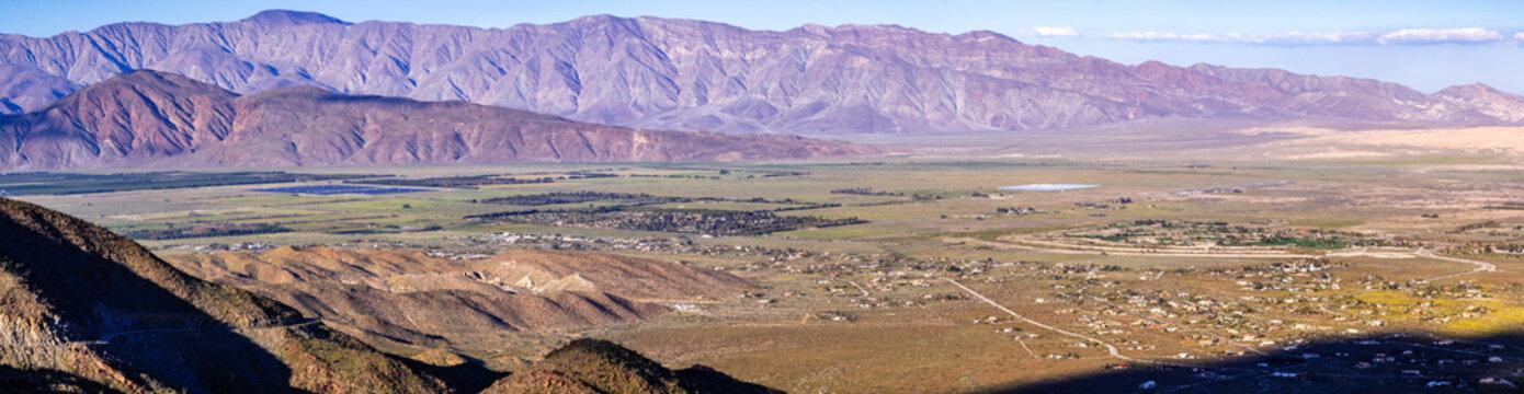 Panoramic view towards Borrego Springs and Anza Borrego Desert State Park during spring, south California