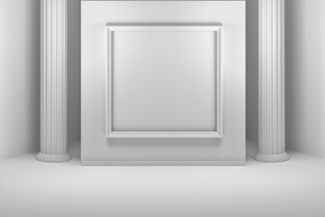Gallery with square picture frame and pillars
