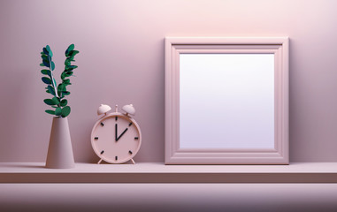 Pink mock up with vase, bell clock and picture frame