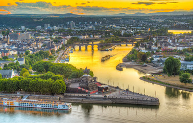 Sunset aerial view of confluence of Rhein and Mosel rivers in Koblenz, Germany Fototapete