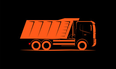 dump truck simple side view schematic image on black background