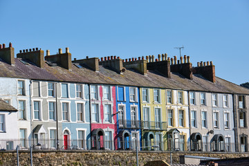 Wall Mural - Colorful serial houses seen in Wales, Great Britain