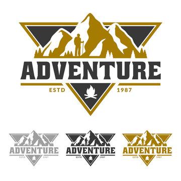 Mountain logo, camping and hiking emblem design, adventure life