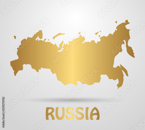Russian Federation map of Russia. Beautiful gold gradient map of the ...
