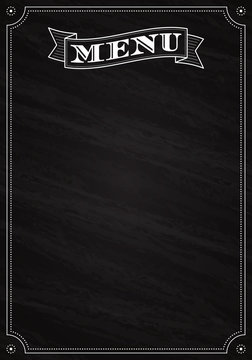 Vintage Menu written with chalk on a blackboard