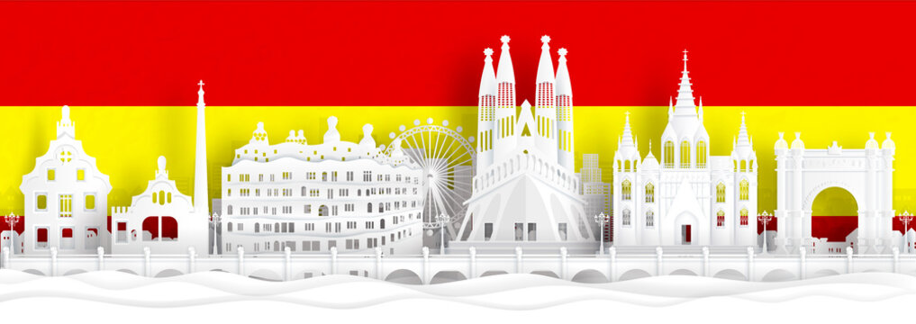 Spain flag and famous landmarks in paper cut style vector illustration.