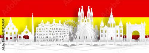 Fototapete Spain flag and famous landmarks in paper cut style vector illustration.