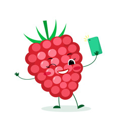 Cute ripe r raspberries berry cartoon character with a smartphone and does selfie. Logo, template, design. Vector illustration, a flat style