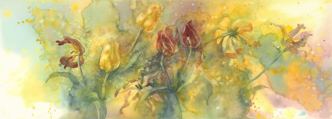 sear yellow and red tulips watercolor background, dying flowers