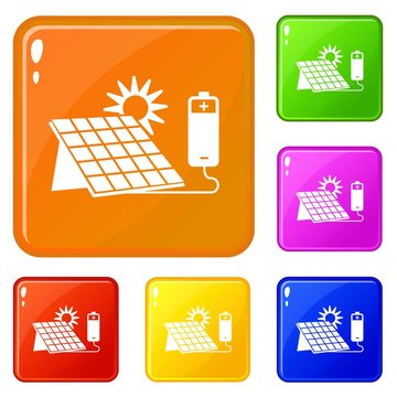 Solar panel icons set collection vector 6 color isolated on white background