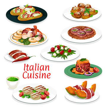 Italian meat dishes, seafood and vegetable salads