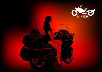 Wall Mural - Beautiful women on modern sport motorcycle
