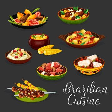 Brazilian meat dishes with vegetables and seafood