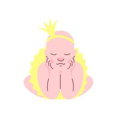 Adorable Newborn Baby in Golden Crown and Skirt Sleeping Vector Illustration