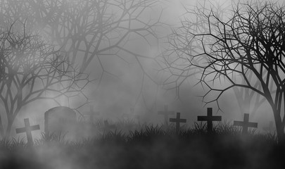 Scary cemetery in creepy forest illustration halloween concept design background Wall mural