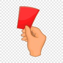 Red card football icon in cartoon style isolated on background for any web design