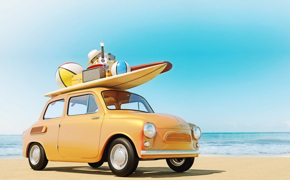 Small retro car with baggage, luggage and beach equipment on the roof, fully packed, ready for summer vacation, concept of a road trip with family and friends