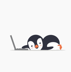 funny penguin with a laptop