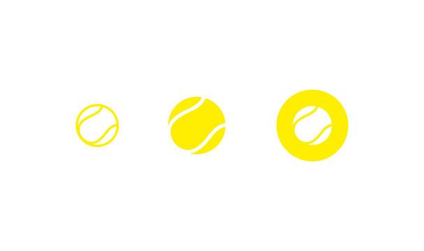 Tennis ball. Icon set