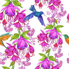 Seamless pattern floral background with exotic flowers and Hummingbird birds,watercolor illustration