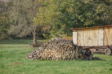 pryzma pociętego drzewa na opał, przygotowania do zimy na wsi, emisja dwutlenku węgla