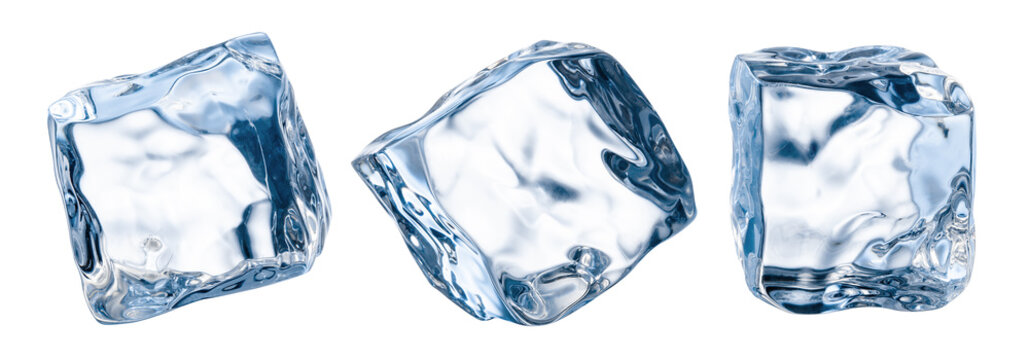 Ice cube isolate on white. Ice cubes isolated with clipping path