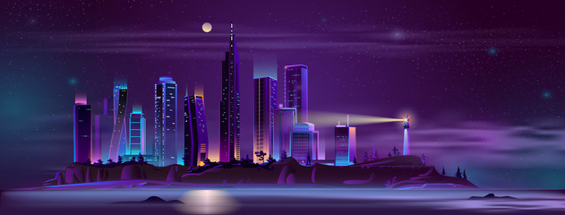 Poster Violet Modern metropolis buildings on sea or ocean island steep shore with beach night landscape cartoon vector in neon colors. Modern city skyline with futuristic skyscrapers and lighthouse illustration